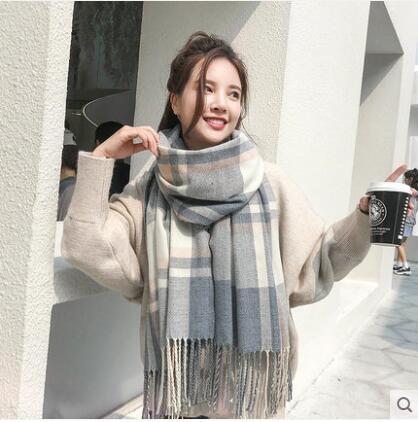 格子圍巾女秋冬季披肩針織韓版百搭男學生可愛ins少女士毛線圍脖-風尚3C