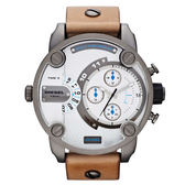 DIESEL 飛行者二地時間個性時尚腕錶(皮帶-咖啡白)