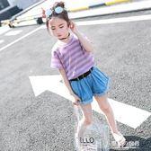 7女童短袖t恤童裝夏季兒童9條紋上衣半袖洋氣12歲女孩T恤 東京衣秀