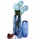 北歐現代簡約藍色玻璃花瓶美式藝術擺件客廳臥室樣板房裝飾插花器【中號花瓶】