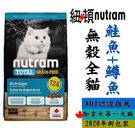 ◆MIX米克斯◆紐頓.T24無榖全貓(鮭魚+鱒魚)【1.13KG】添加薑黃