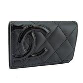 CHANEL 黑色菱格紋羊皮漆皮大雙C卡片夾(九成新)