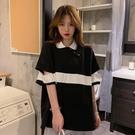 長款上衣 夏季韓版寬鬆中長款設計感撞色破洞POLO領短袖T恤上衣女 晶彩 99免運