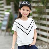 女童短袖t恤2019新款春夏兒童韓版純棉寬鬆中大童洋氣短袖上衣 FR9535『俏美人大尺碼』