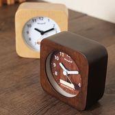鬧鐘 鐘表簡約鬧鐘創意床頭鐘學生原木靜音小鬧表兒童木個性夜光臥室鐘 霓裳細軟