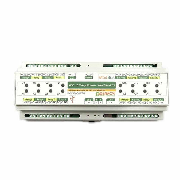 Denkovi USB 繼電器模塊 24VDC 16 Relay Module ModBus RTU Timers DIN Rail Box [2美國直購]