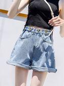 短褲女夏高腰新款chic寬腿牛仔短褲韓版bf風寬鬆學生百搭熱褲  Cocoa