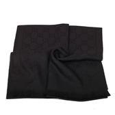 GUCCI LOGO純羊毛寬版圍巾披巾(黑色)