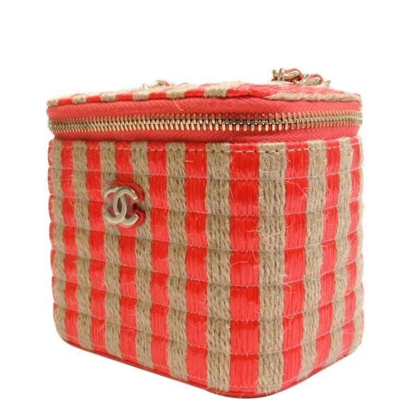 CHANEL 香奈兒 草編X紅色牛皮斜背迷你小包 Small Vanity With Chain Bag【BRAND OFF】