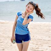 梨卡 - 氣質甜美[遮肚+顯瘦]保守款二件式短袖兩截式四角短褲泳裝泳衣CR451