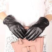 真皮手套-羊皮加絨皮扣黑色女手套73wm69【巴黎精品】