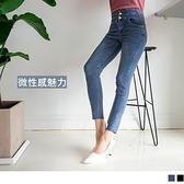 微性感彈力含棉牛仔高腰收腹簍空腰頭造型緊身長褲 OrangeBear《BA5939》