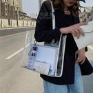 果凍包 手提包 網紅大容量托特包包女2021新款流行果凍透明包ins時尚洋氣單肩包