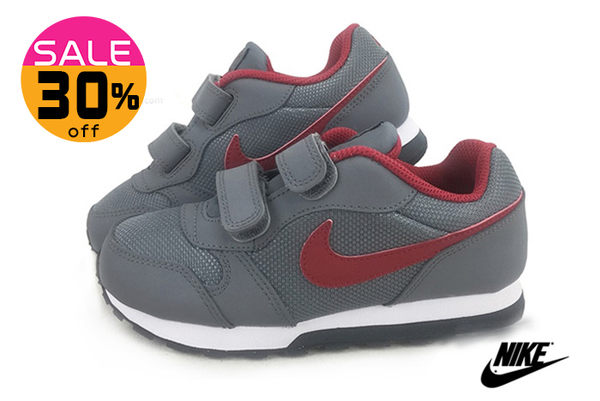 NIKE童鞋 真皮 MD RUNNER 2 阿甘鞋 輕量運動鞋N7055#灰紅◆OSOME奧森童鞋 零碼