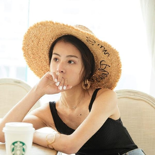 拉菲草帽女夏天遮陽海邊防曬度假字母大帽檐韓版百搭沙灘帽子女夏