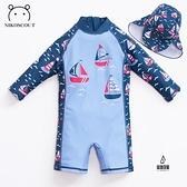 寶寶游泳衣男嬰兒連體帆船卡通沙灘防曬帽游泳衣速干兒童泳衣【愛物及屋】