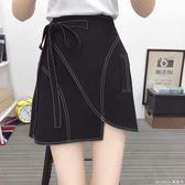 大尺碼 不規則A字短裙半身包臀裙女 夏季新款A字短裙百搭半身包臀裙 M-4XL 黑色 莫妮卡小屋