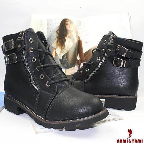 【Nami&Yami】復古擦色雙釦綁帶厚底短靴(黑)