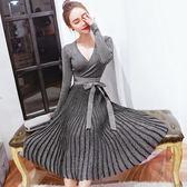 長袖洋裝 氣質性感V領針織連身裙洋裝女中長版百褶大擺打底裙 中元節禮物