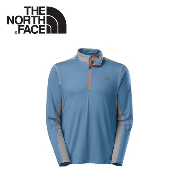 【The North Face 男 FLASHDRY長袖套頭衫 天藍灰/墨灰】CBA8/長袖套頭衫★滿額送
