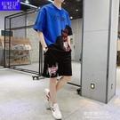 夏季ins棉料短袖t恤短褲男孩運動休閒套裝青少年初中學生衣服【果果新品】