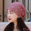 帽子 女韓版四季蕾絲水鑽頭巾帽薄款透氣包頭帽堆堆帽空調光頭帽