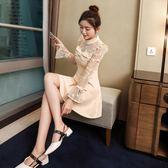 秋款洋裝蕾絲名媛氣質時尚收腰長袖打底裙少女心裙子禮服裙 草莓妞妞