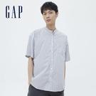 Gap男裝 府綢布條紋圓領短袖襯衫 701459-白底條紋