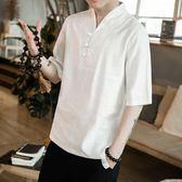 中國風男裝亞麻V領短袖T恤漢服古風棉麻上衣半截袖寬鬆大碼半袖 QQ974『愛尚生活館』