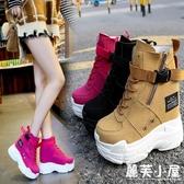 新款秋季新款百搭正韓潮內增高超高跟運動短靴女休閒厚底鬆糕單鞋