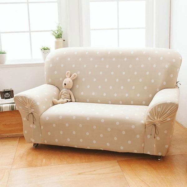 【南紡購物中心】格藍傢飾-雪花甜心涼感彈性沙發套-焦糖駝2人