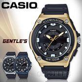 CASIO手錶專賣店 MWC-100H-9A 俐落指針男錶 樹脂錶帶 黑X金 防水100米
