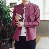 大尺碼居士服 中國風唐裝亞麻長袖襯衫男士棉麻中式盤扣立領漢服襯衣OB3778『易購3c館』
