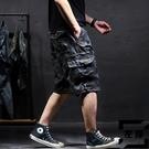 大碼迷彩工裝短褲男五分夏季薄款寬版男士休閒七分褲【左岸男裝】