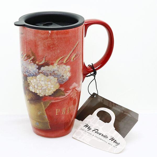 【美國品牌Royal Duke】陶瓷休閒杯(附蓋)-普羅旺斯的熱情QC10
