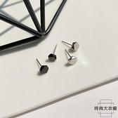925純銀耳釘簡約女小巧耳骨釘潮黑色耳飾【時尚大衣櫥】