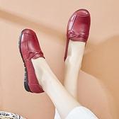 春秋款媽媽鞋真皮軟底舒適工作皮鞋女中老年透氣單鞋防滑平底大碼