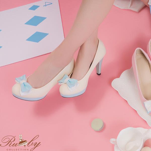 鞋子 糖果色系蝴蝶結高跟鞋-米白-Ruby s露比午茶