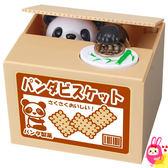 Hamee 日本正版 惡作劇BANK 療癒系 紙箱動物偷錢 發聲存錢筒 儲金箱 (黑白小熊貓) 376435
