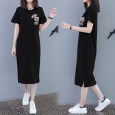 海外直發不退換大尺碼休閒洋裝6003歐州站修身長裙連衣裙夏季新款顯瘦休閑t恤裙過膝長款(G608)