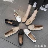 媽媽軟底女 秋款舒適黑色奶奶鞋平底工作鞋淺口軟皮單鞋豆豆鞋 OO1729【VIKI菈菈】