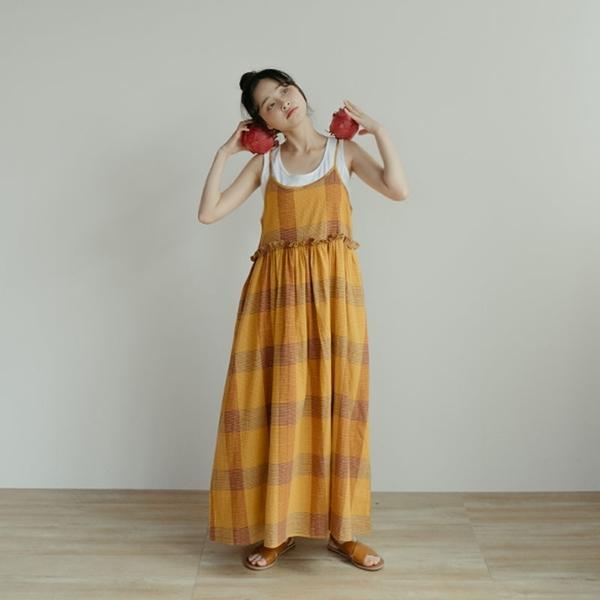 Queen Shop【01085308】格紋設計荷葉造型細肩棉麻洋裝*現+預*