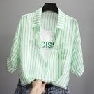 2021夏裝新款時尚假兩件字母含棉豎條紋短袖襯衣女小清新韓版襯衫 快速出貨