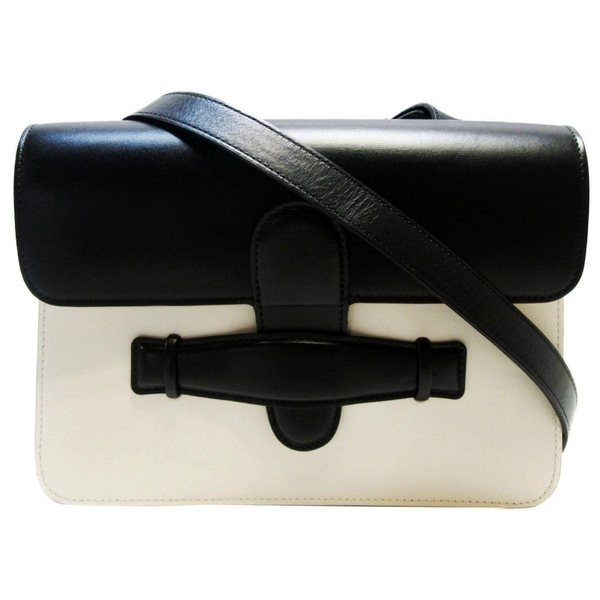 CELINE 賽琳 symmetrical 黑白牛皮復古肩背包/馬鞍包 【BRAND OFF】