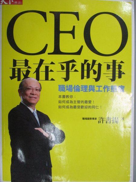 【書寶二手書T6/財經企管_NPL】CEO最在乎的事-職場倫理與工作態度_許書揚