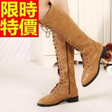 馬丁靴-英倫前綁帶真皮高筒女靴子2色65d89[巴黎精品]