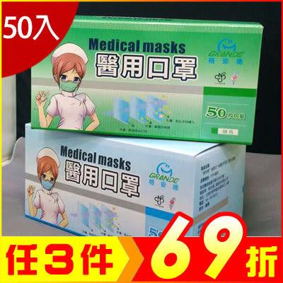 台灣製醫用三層口罩(50入盒)護膚 透氣 防霉 防塵 空汙【KI01001】i-Style居家生活