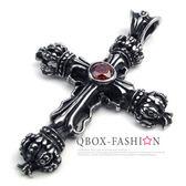 《 QBOX 》FASHION 飾品【W10022330】精緻個性皇冠十字架鑄造316L鈦鋼墬子項鍊(紅)