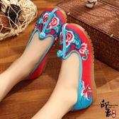 中國風復古漢服配鞋民族風繡花鞋亞麻帆布鞋女單鞋子 降價兩天