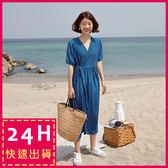 梨卡★現貨 - 氣質甜美寬鬆圓點點綁帶連身裙連身長裙洋裝/2色B871